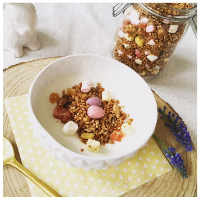 Easter granola with fluffy bunny tails