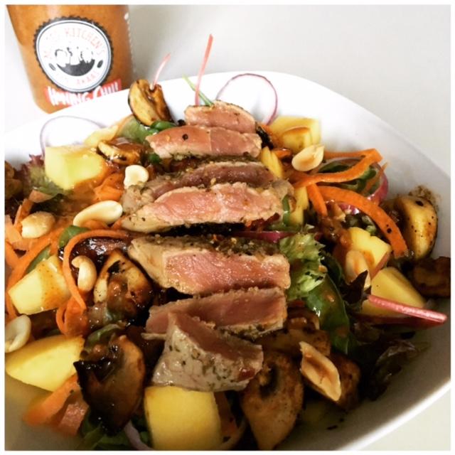 Beef Salad with peanut dressing