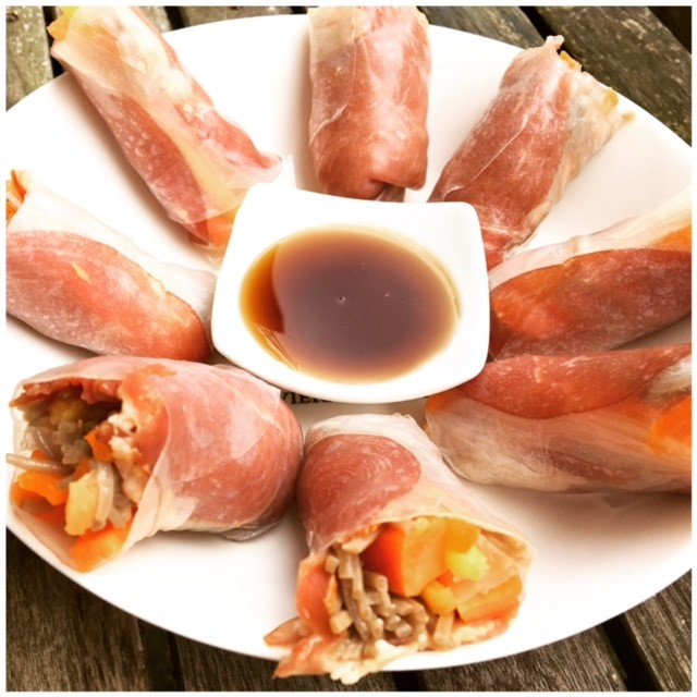 Summerrolls with smoked duck