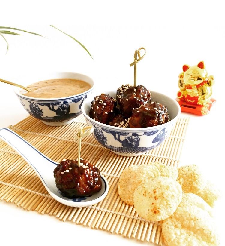 Spicy Hoisin Glazed Meatballs