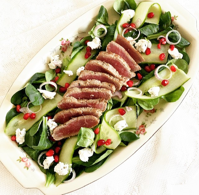 Spring salad with lamb