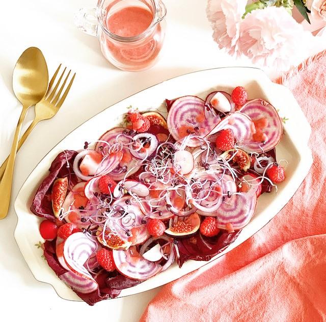 Pink Salad with Raspberry Vinaigrette